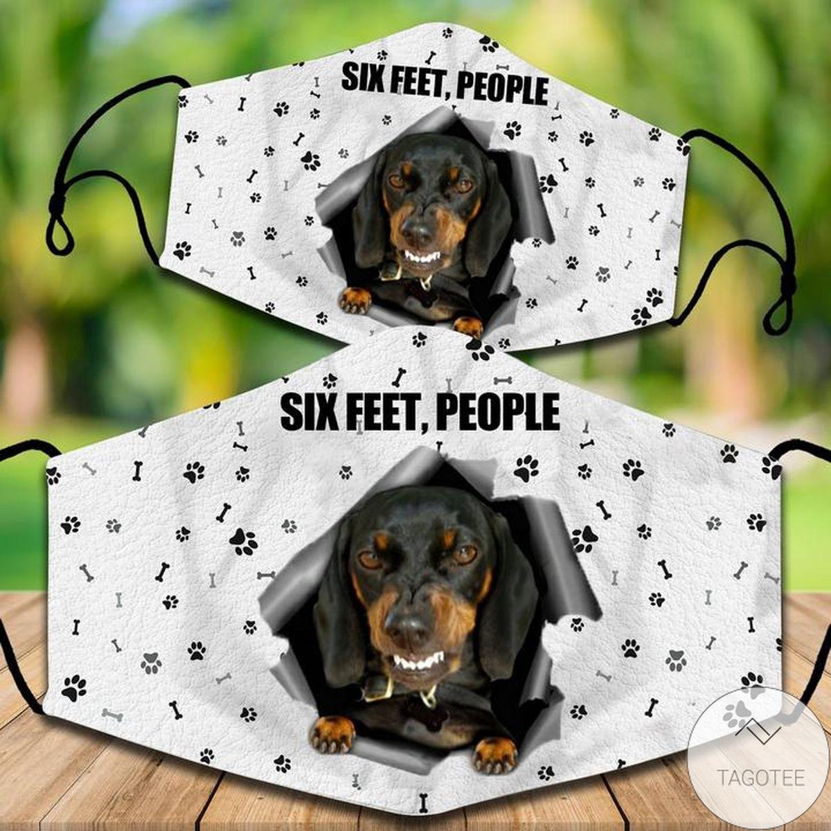 Esty Dachshund Six Feet People Face Mask