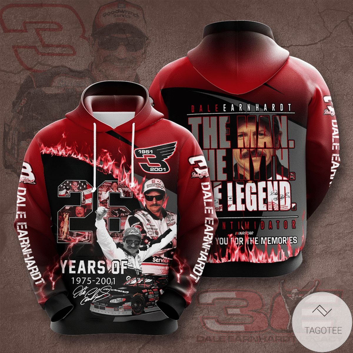 Dale Earnhardt The Man The Myth The Legend 3d Hoodie