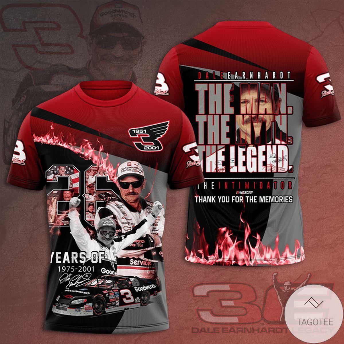 Dale Earnhardt The Man The Myth The Legend 3d Shirt