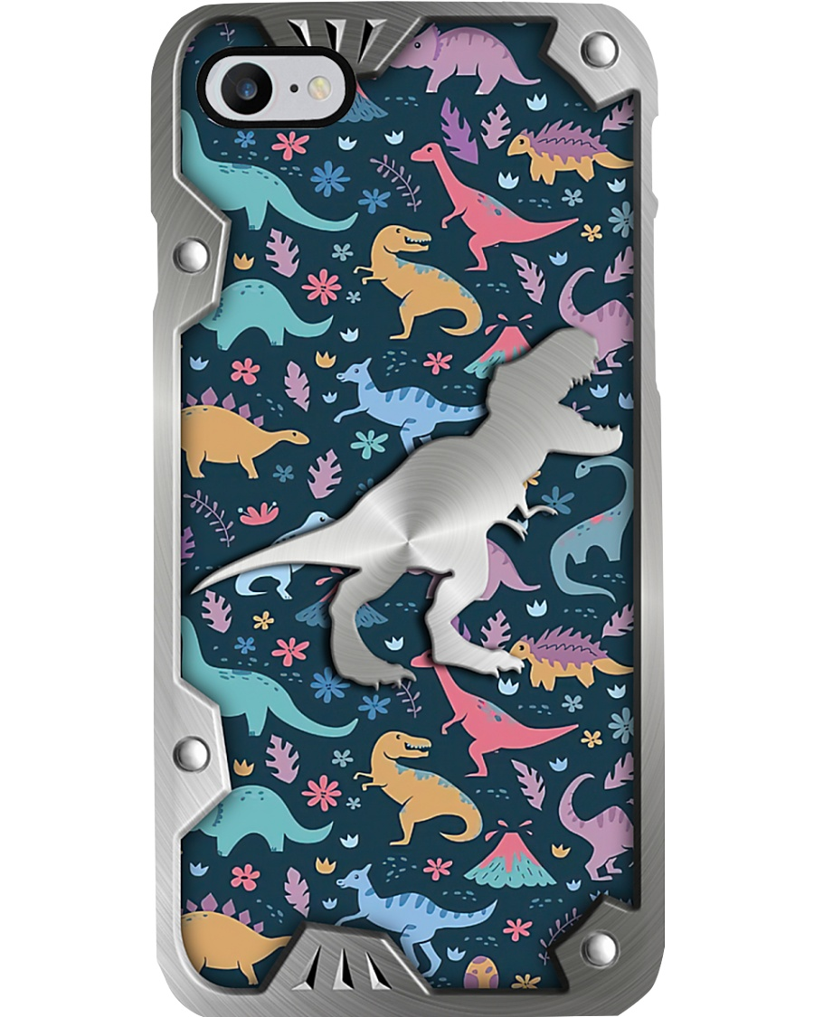 Dinosaurs colorful pattern as metal phone case 7
