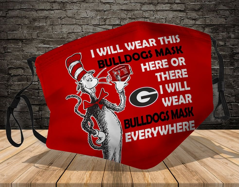 Dr. Seuss Green Bay Packers I will wear this bulldogs mask here or there everywhere mask