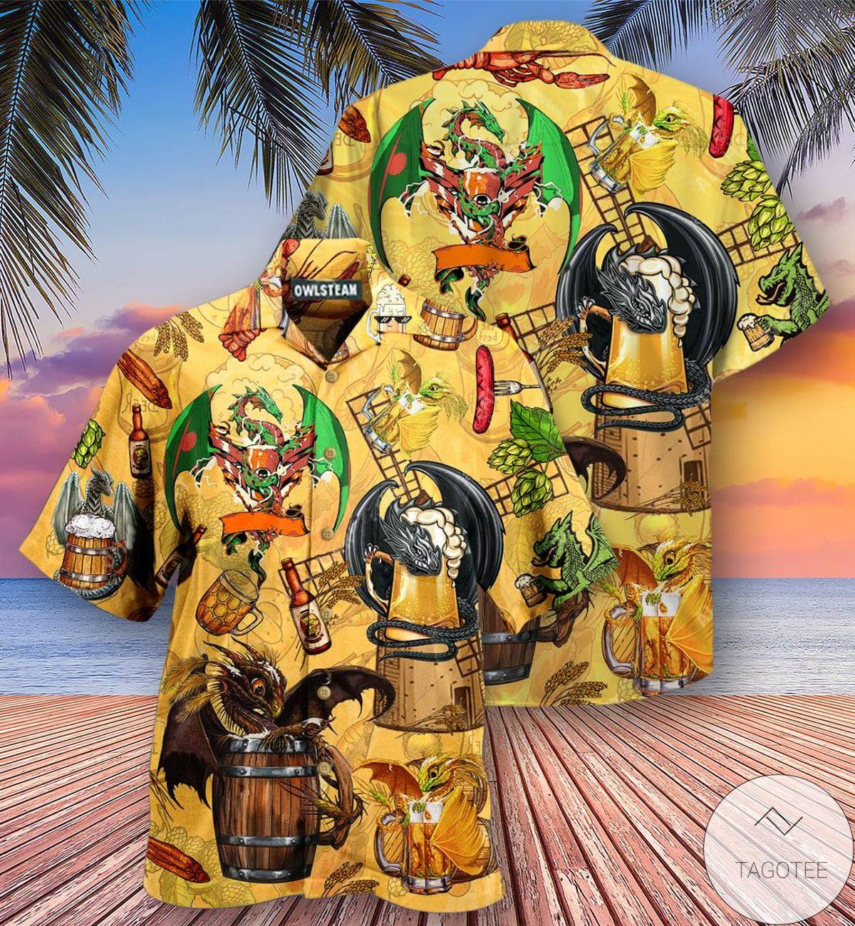 Dragon And Beer Hawaiian Shirt