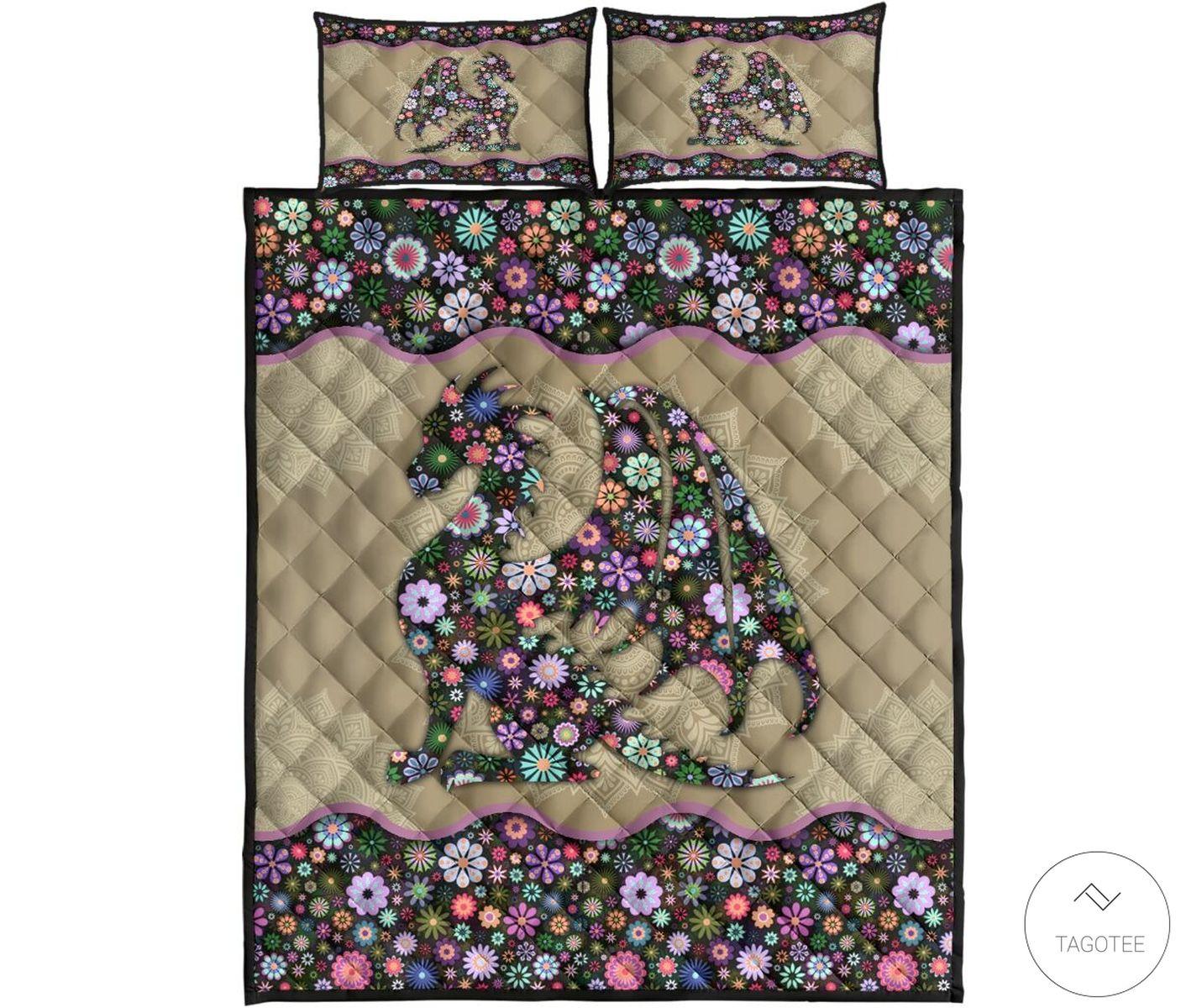 Dragon Flowers Quilt Bedding Setc