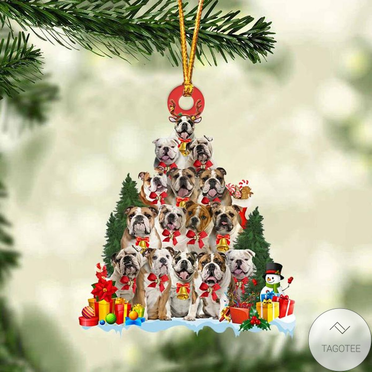 English Bulldog Dog Christmas Tree Ornament