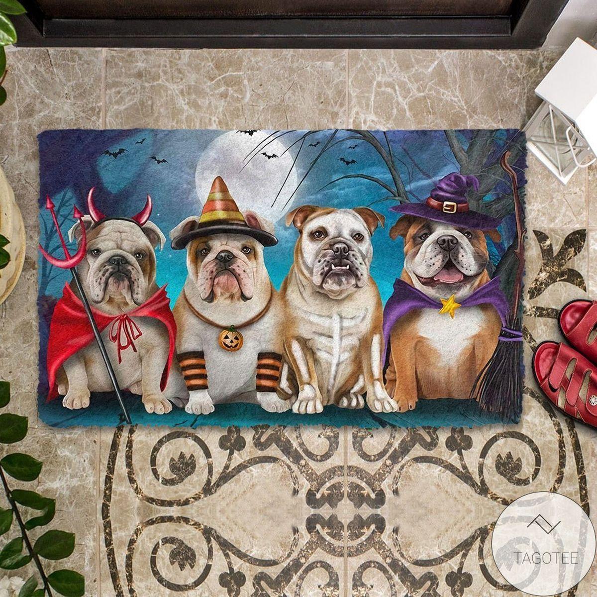 English Bulldog Halloween Doormat