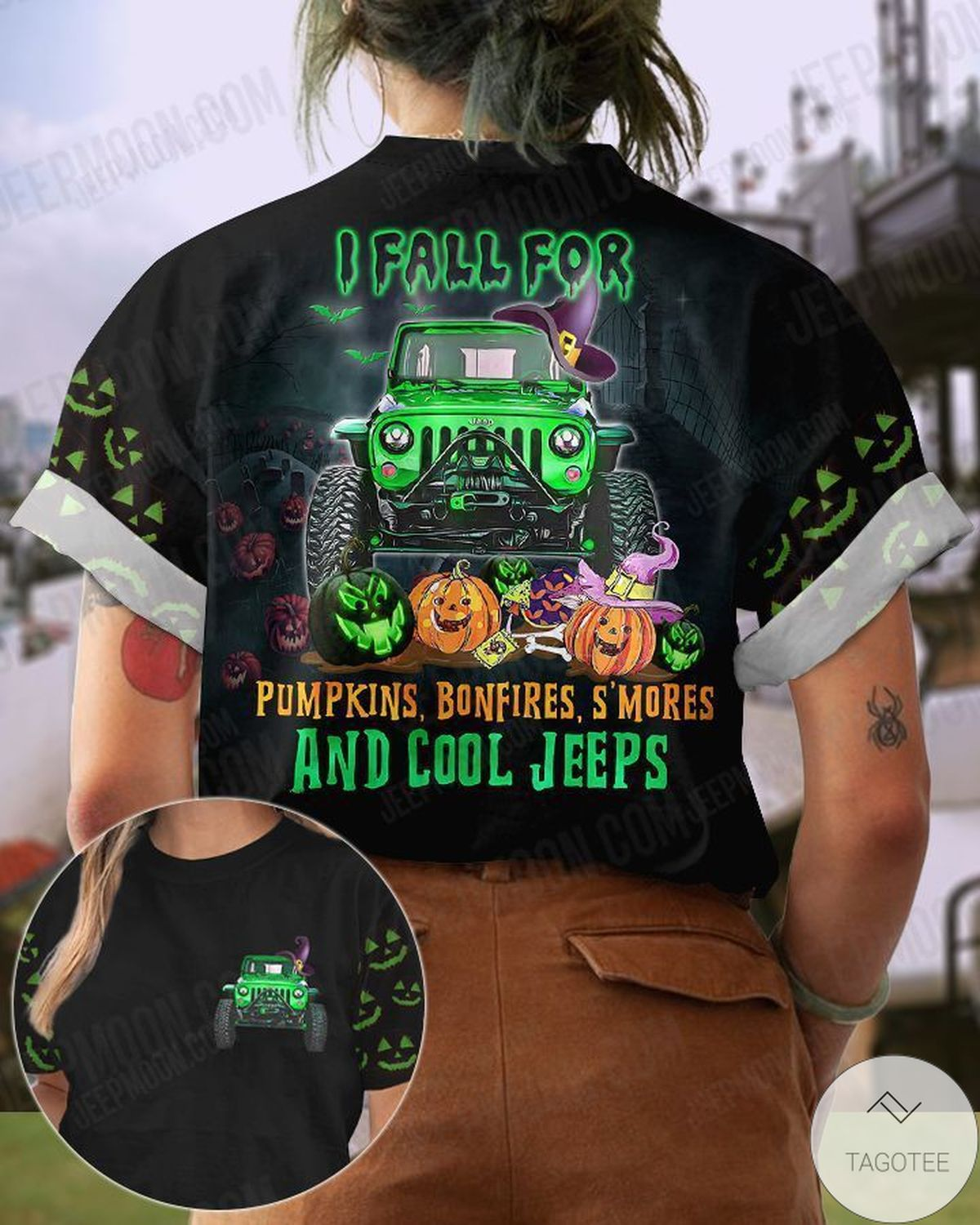Every Year I Fall For Pumpkins Bonfires And Cool Jeeps Halloween T-Shirt