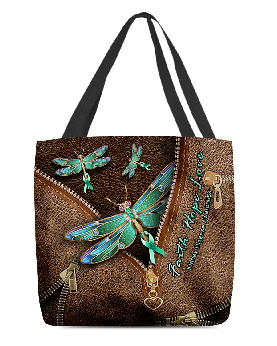 Faith Hope Love Kidney Disease Awareness as leather zipper tote bag