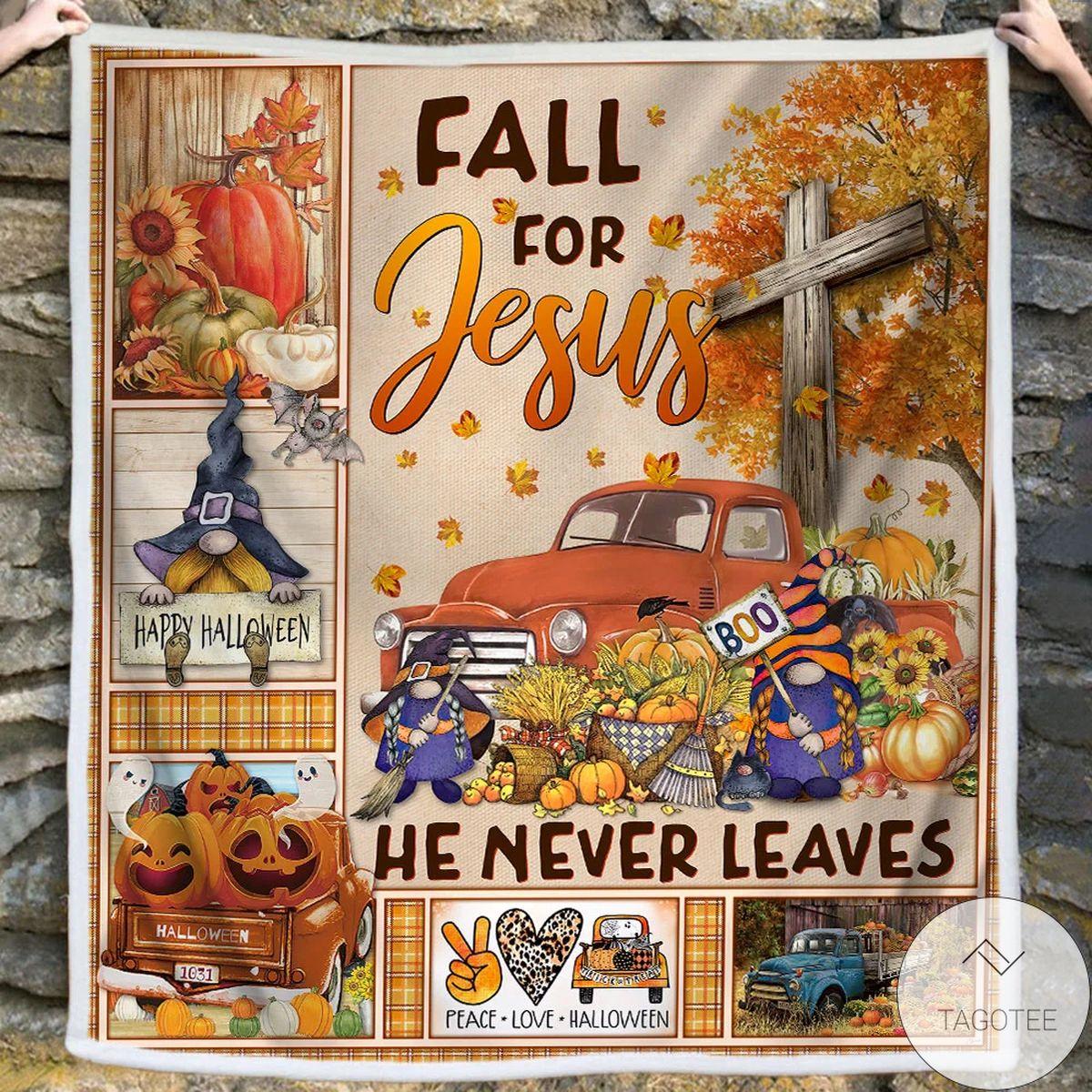 Nice Fall For Jesus He Never Leave Halloween Truck Sofa Throw Blanket
