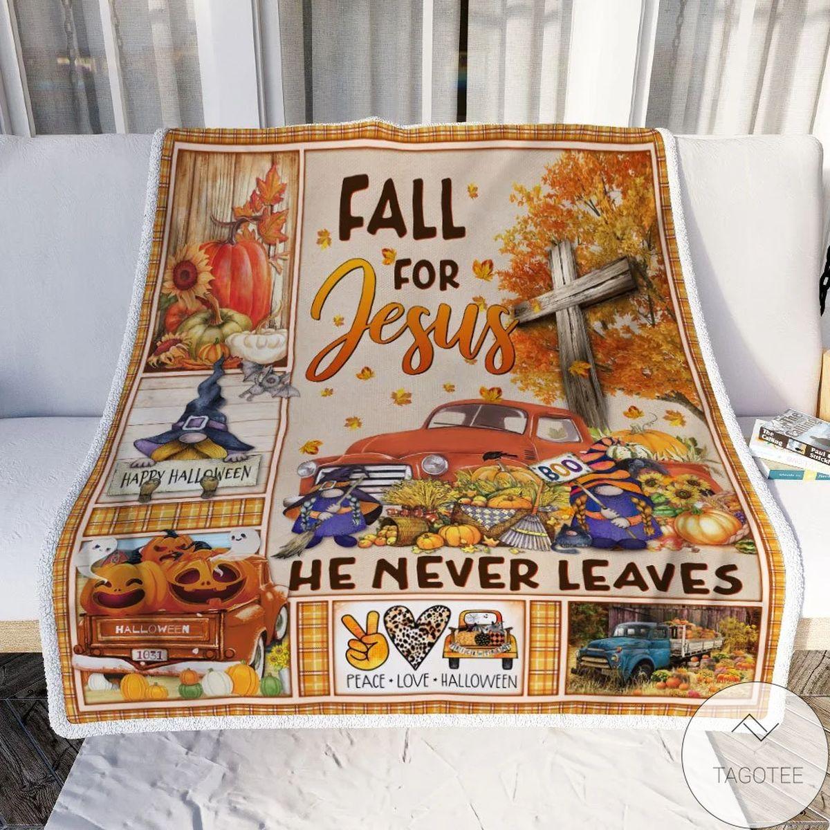 Fall For Jesus He Never Leave Halloween Truck Sofa Throw Blanket
