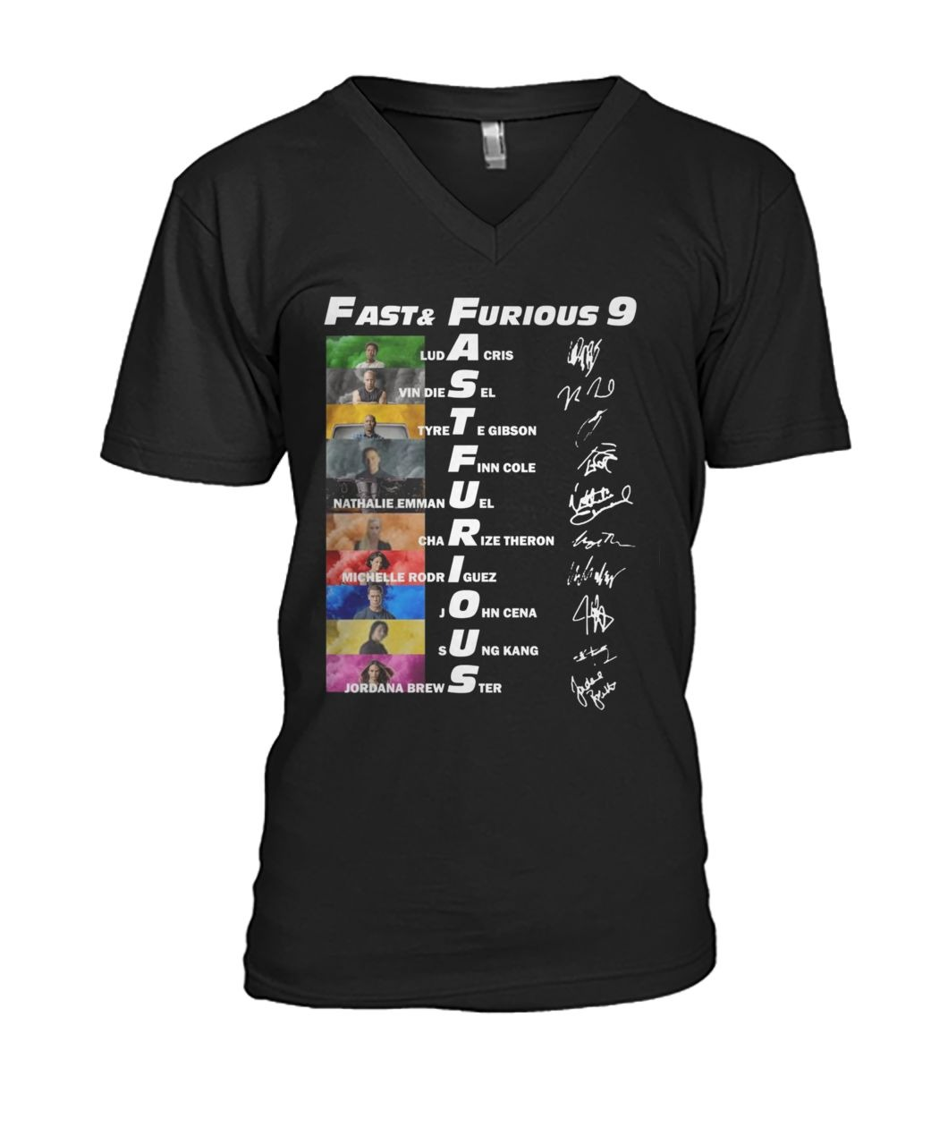 Fast and Furious 9 character signatures V-neck