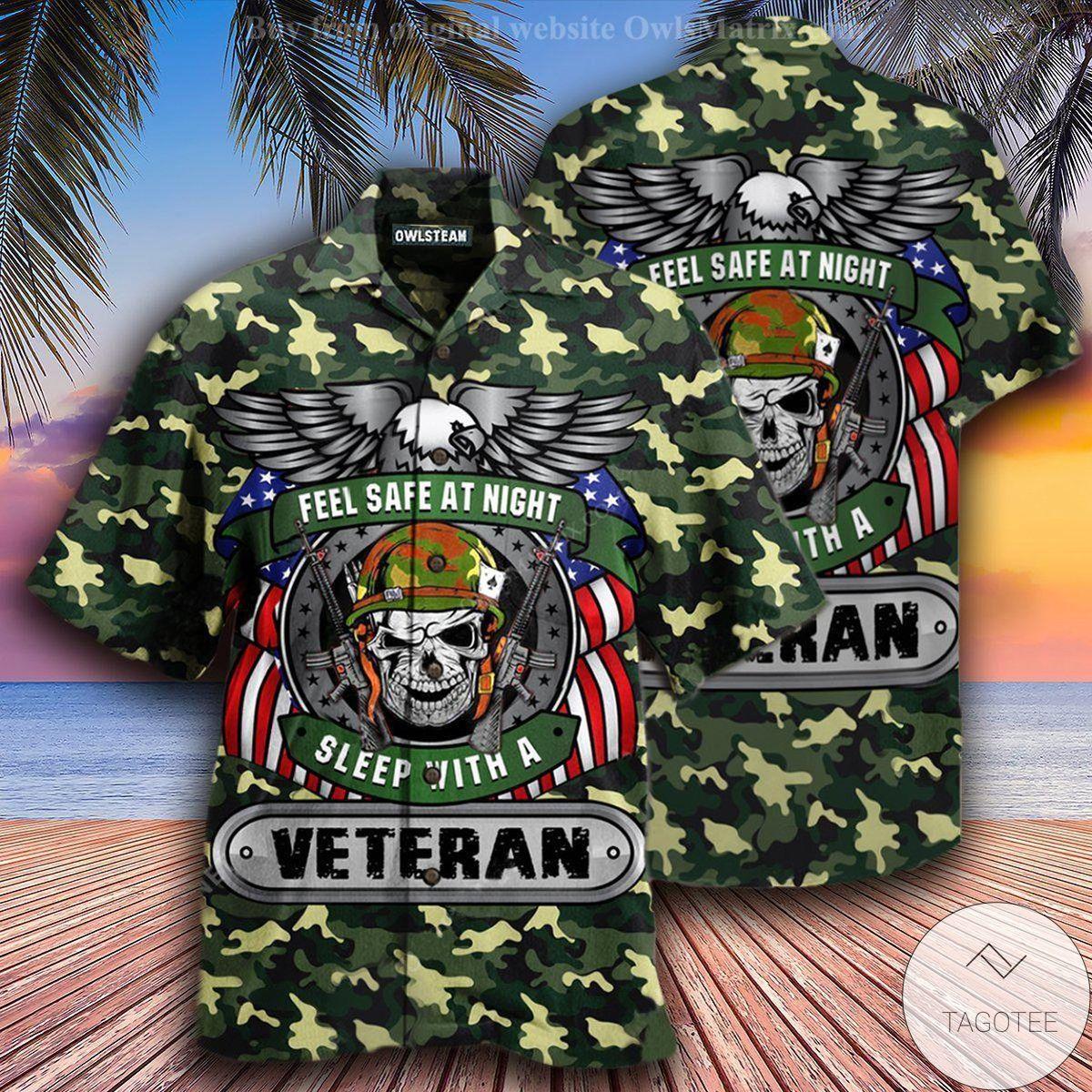 Feel Safe At Night Sleep With A Veteran Hawaiian Shirt