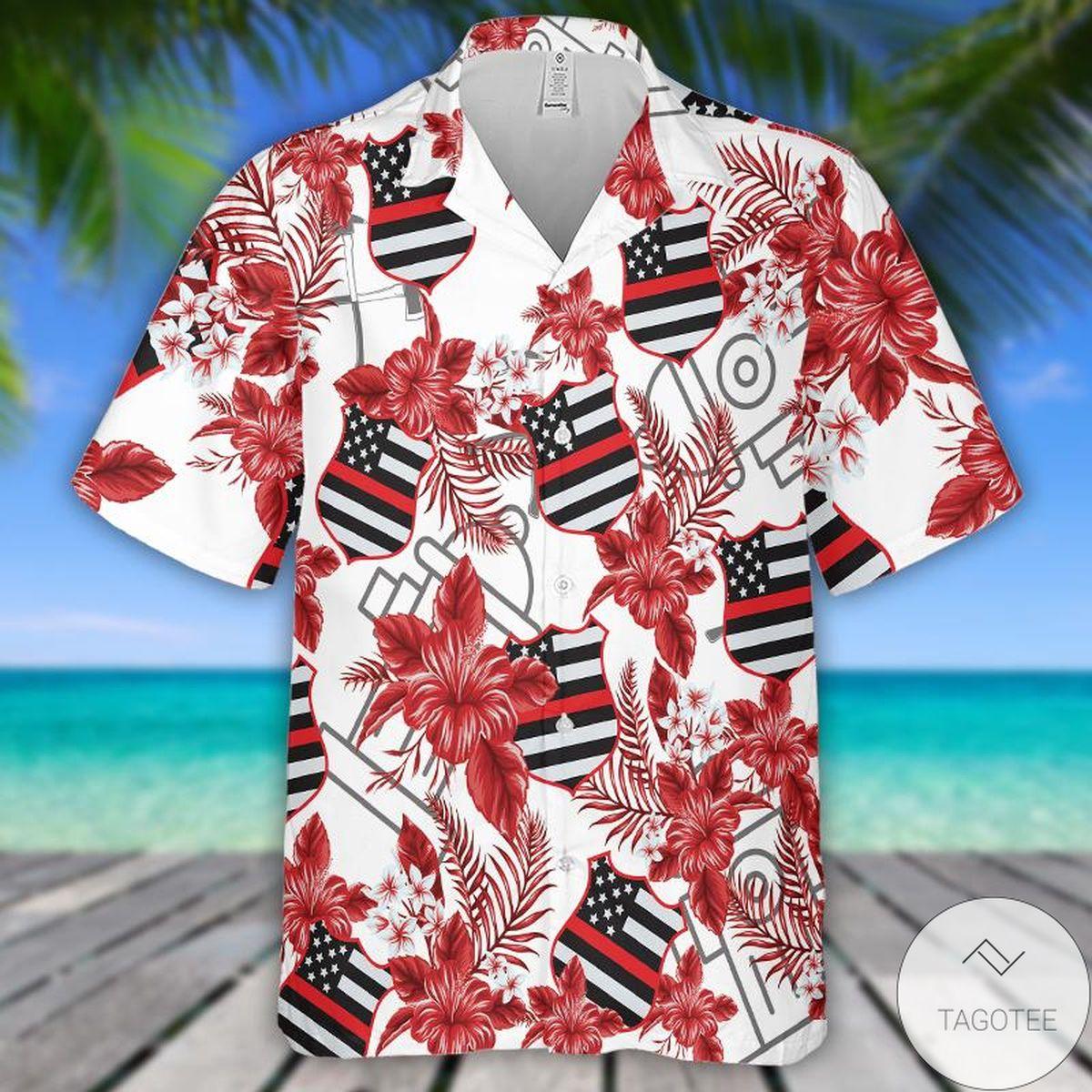 Firefighter Seamless Pattern Aloha Hawaiian Shirt