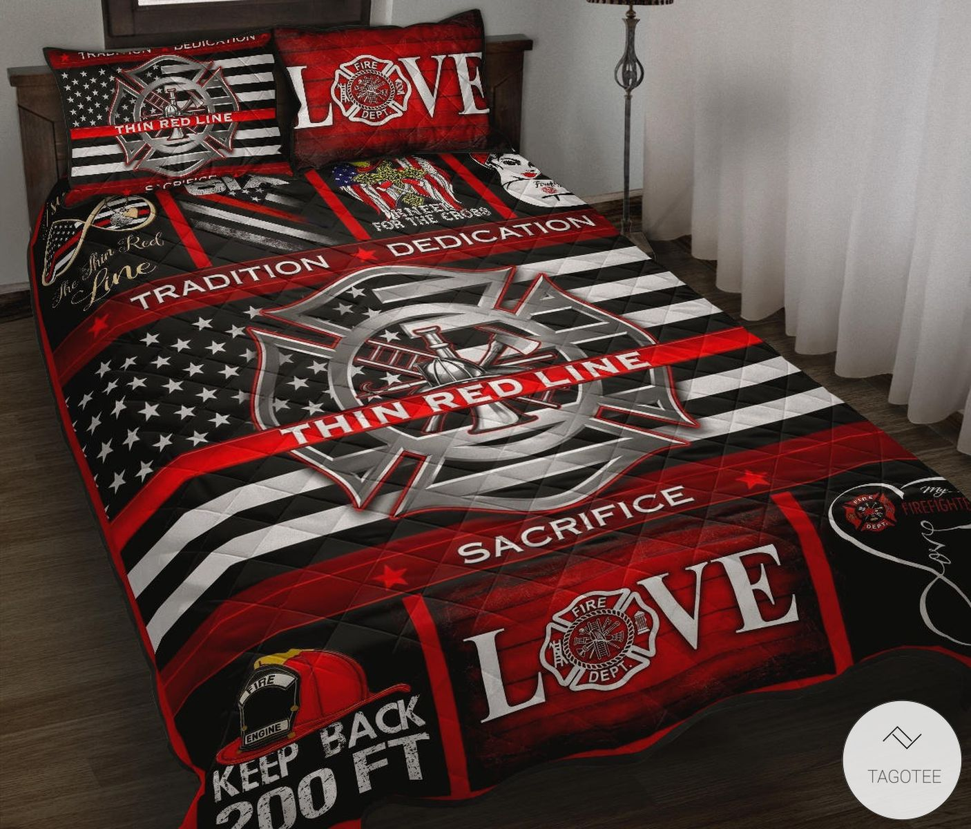 Firefighter Thin Red Line Quilt Bedding Set