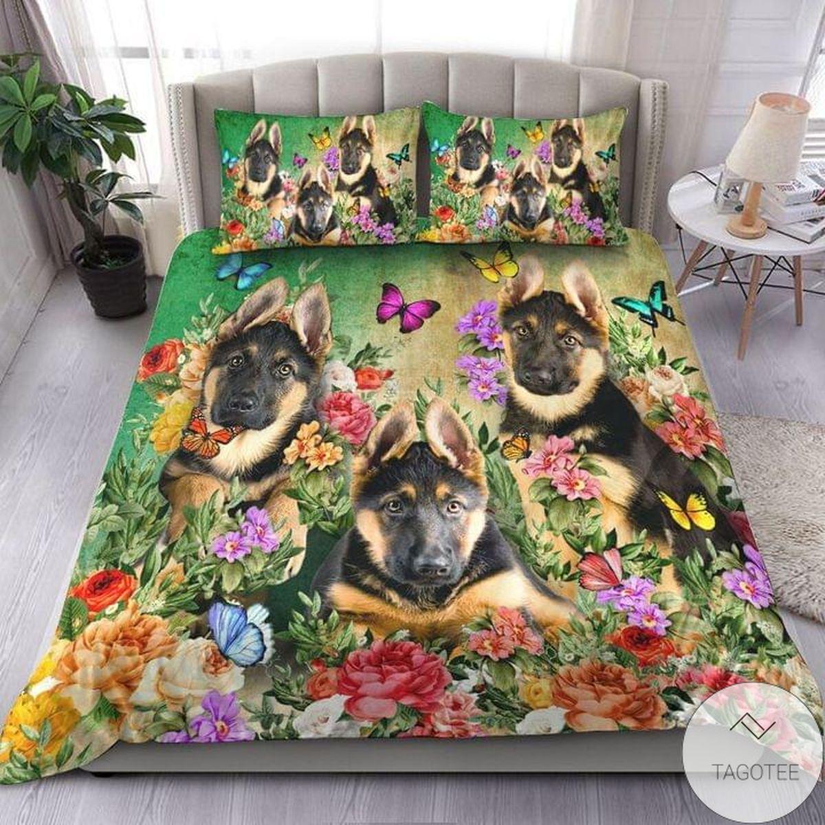 German Shepherd Beautiful Flower Bedding Set