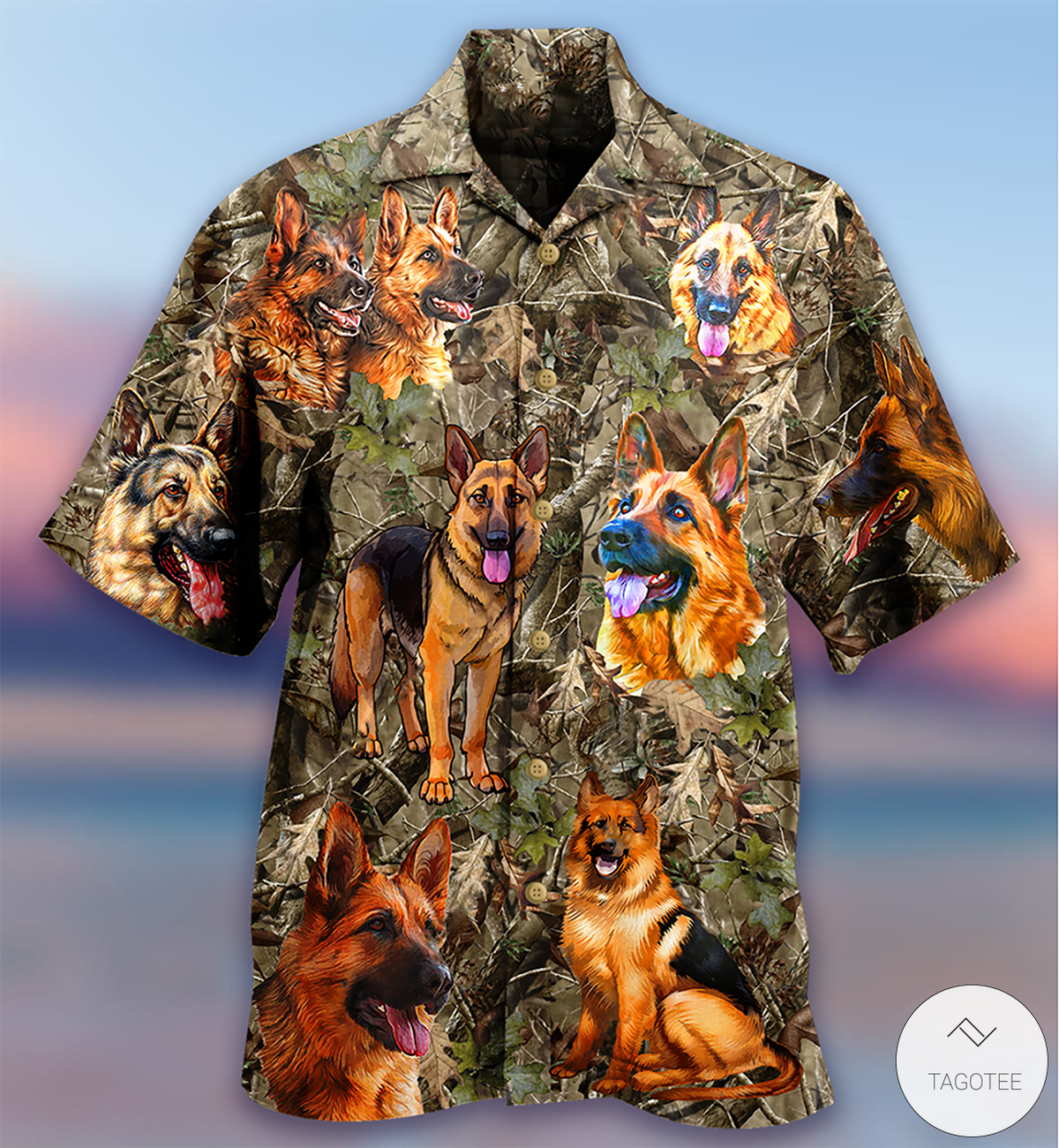German Shepherd Hunting Camo Hawaiian Shirt