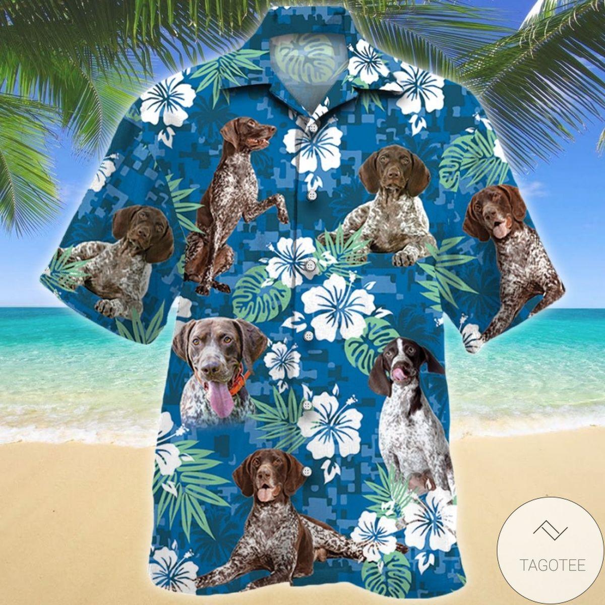 German Shorthaired Pointer Blue Camouflage Hawaiian Shirt