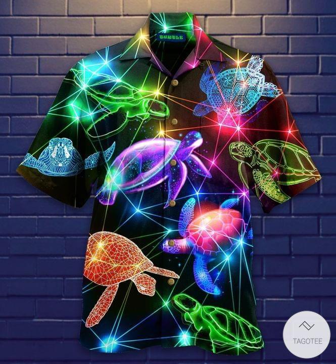 Glowing Neon Turtle Hawaiian Shirt