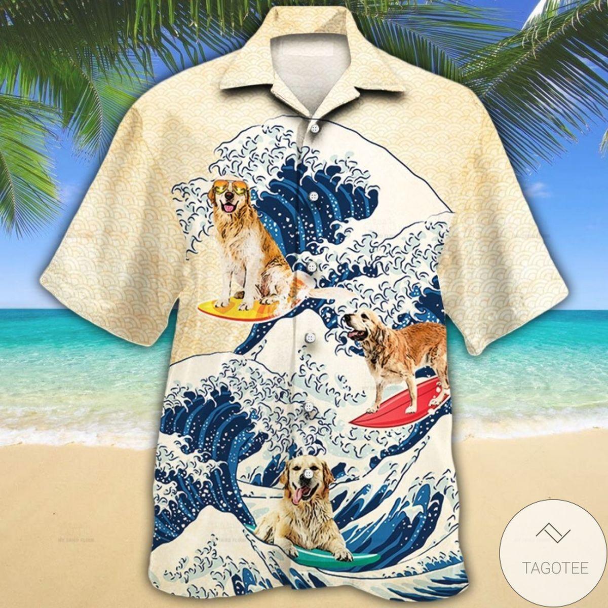 Golden Retriever Wave Hawaiian Shirt