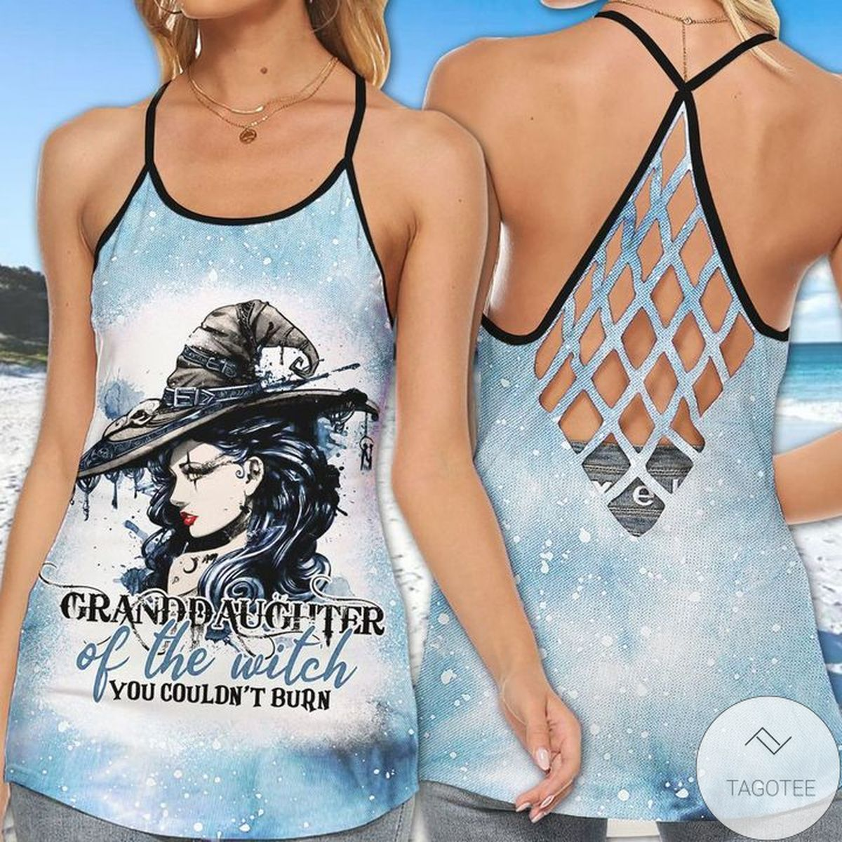 Granddaughter Of Witch You Couldn't Burn Criss Cross Tank Top