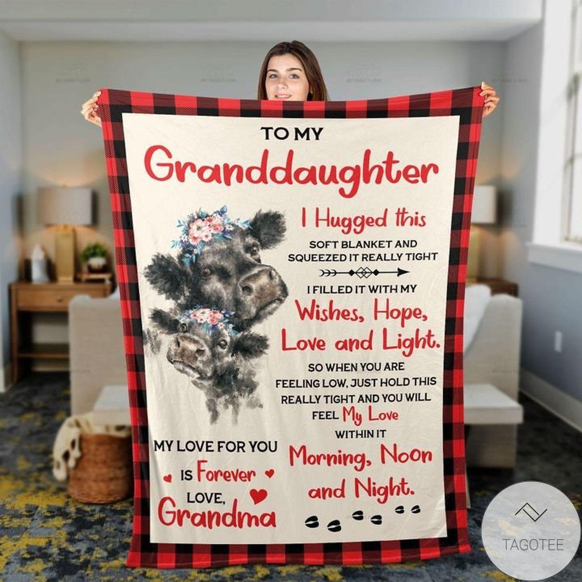 Grandma To Granddaughter Black Angus Cattle Lovers Premium Blankets