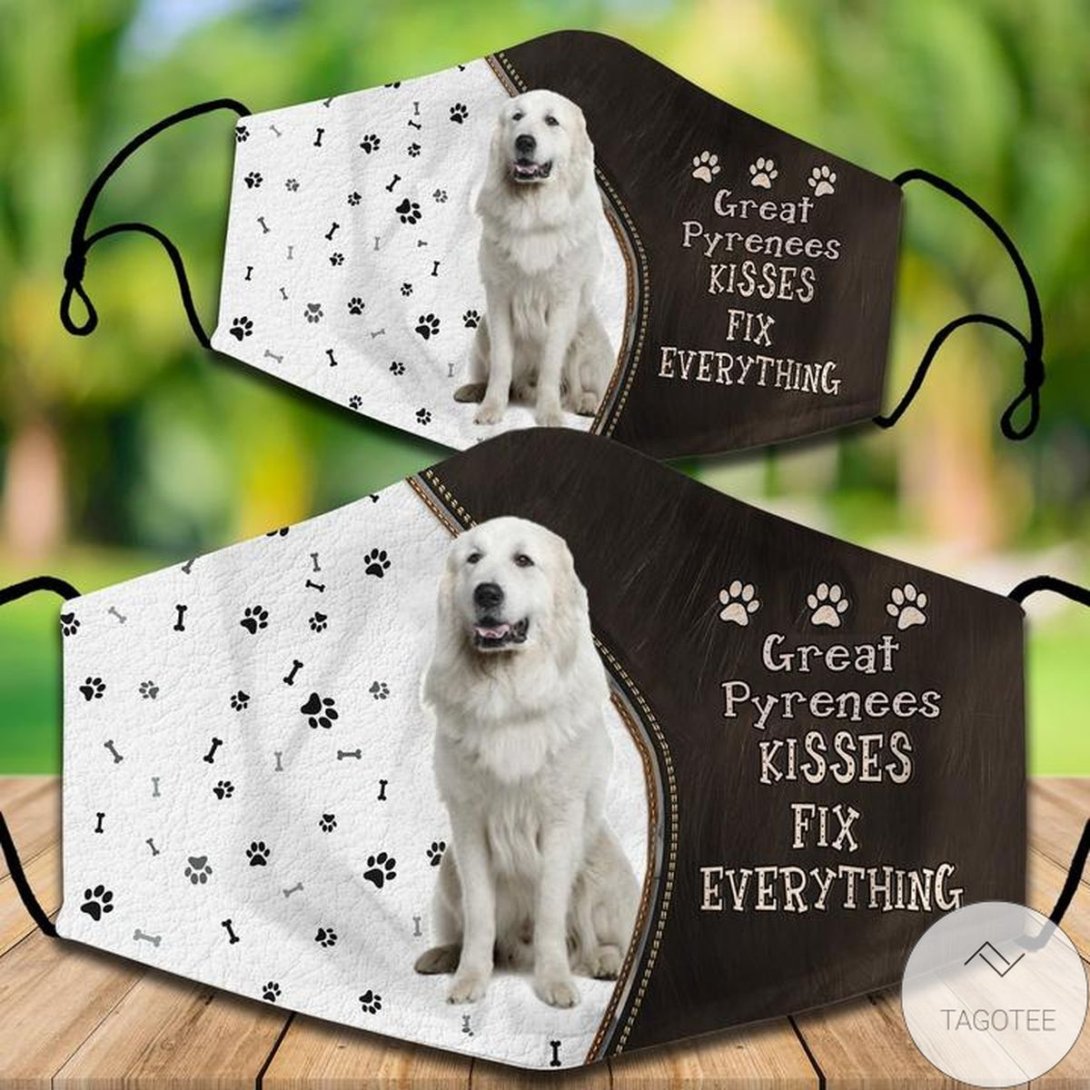 Free Ship Great Pyrenees Kisses Fix Everything Face Mask