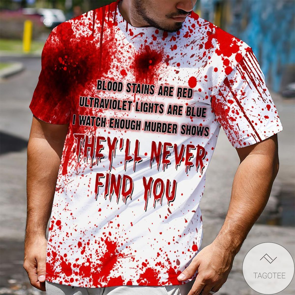 New Halloween Blood Stains Are Red Ultraviolet Lights Are Blue Shirt
