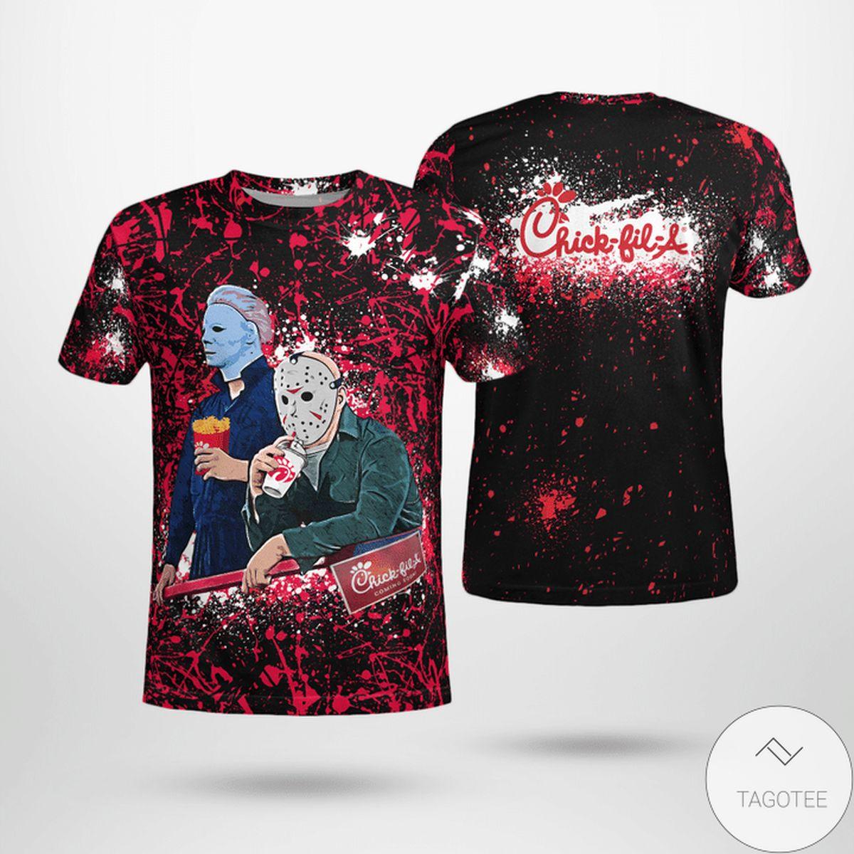 Halloween Chick-fil-A Jason Voorhees Michael Myers Shirt