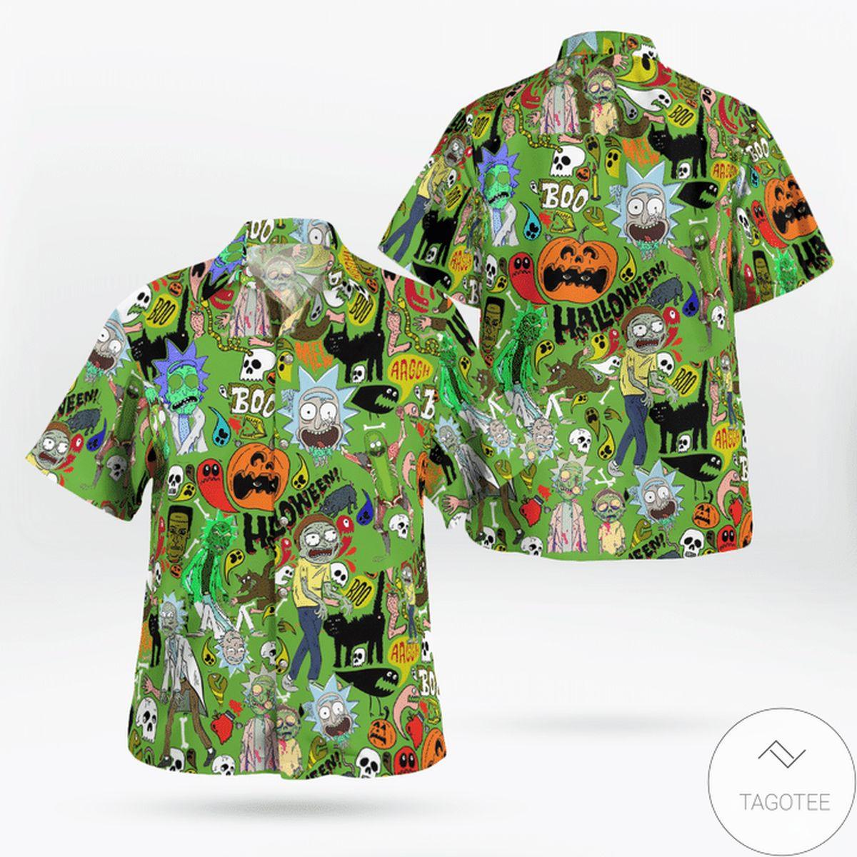 Halloween Rick And Morty Pattern Hawaiian Shirt