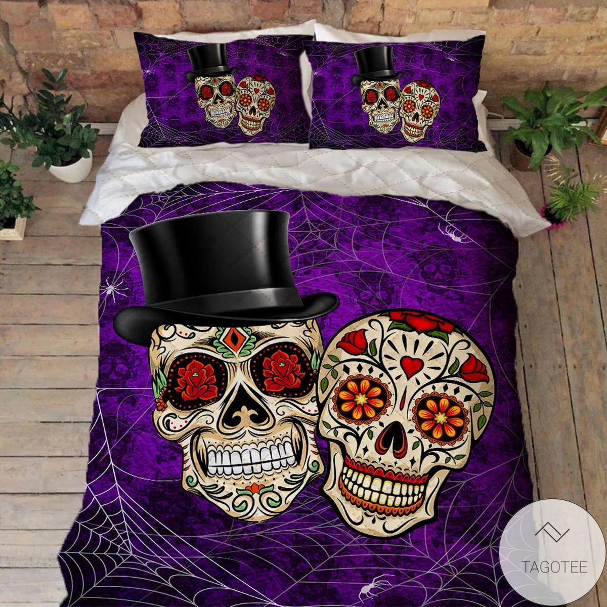 New Happy Haunting Sugar Skull Halloween Quilt Bedding Set