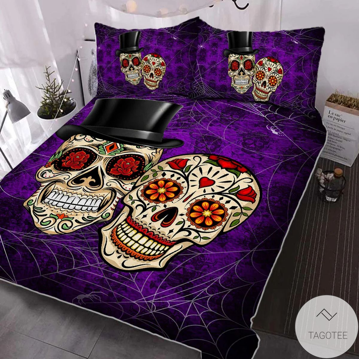 Great Quality Happy Haunting Sugar Skull Halloween Quilt Bedding Set