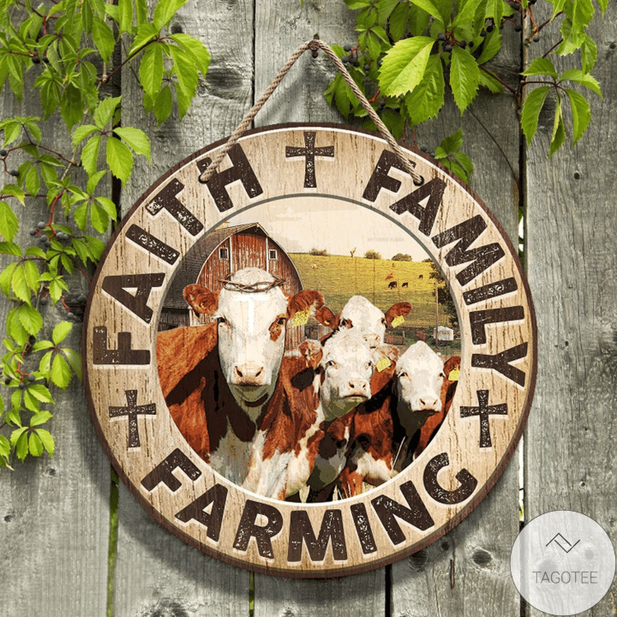 Hereford Cattle Faith Family Farming Round Wooden Sign