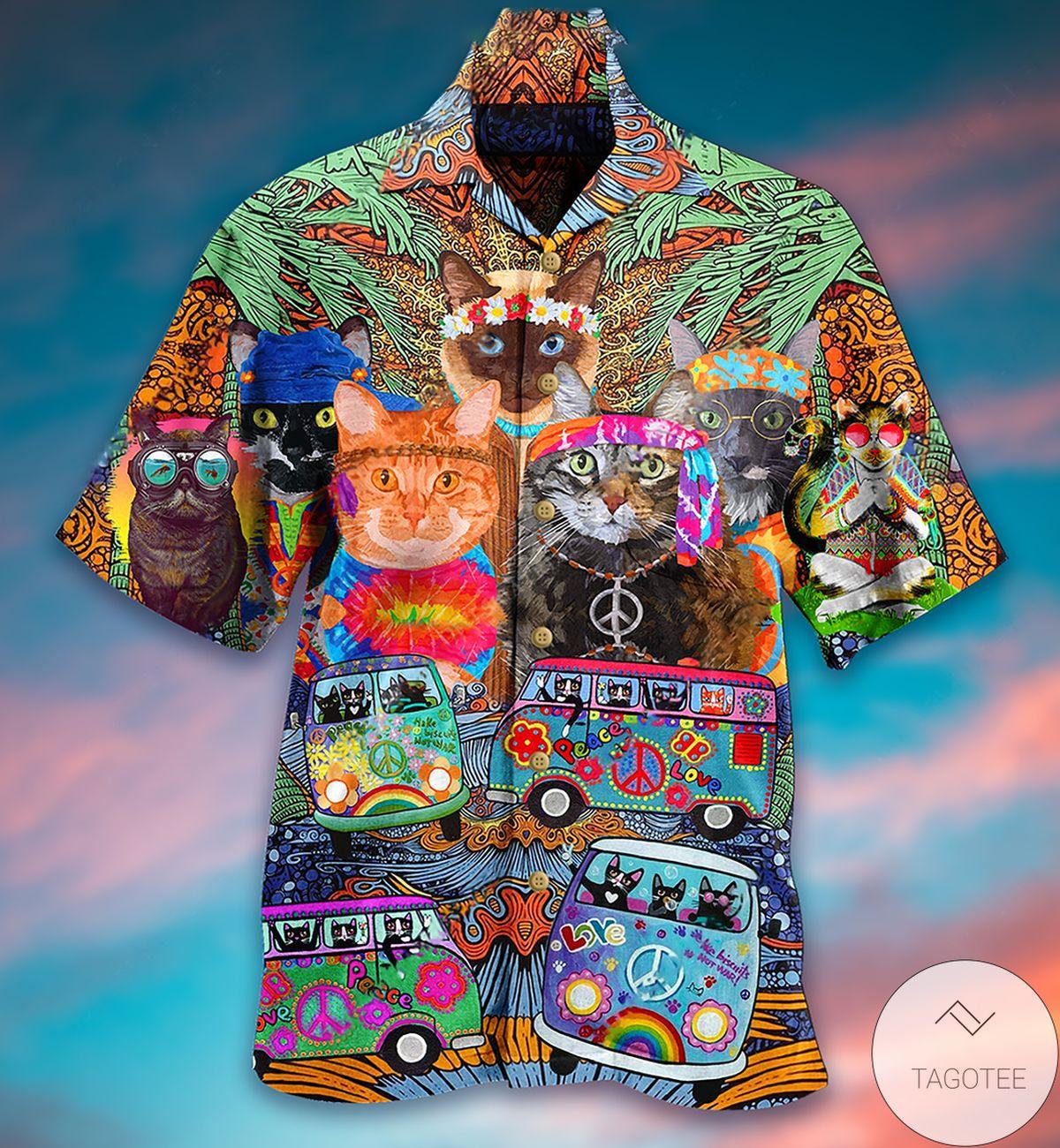 Amazon Hippie Cats Peace Life Color Hawaiian Shirt