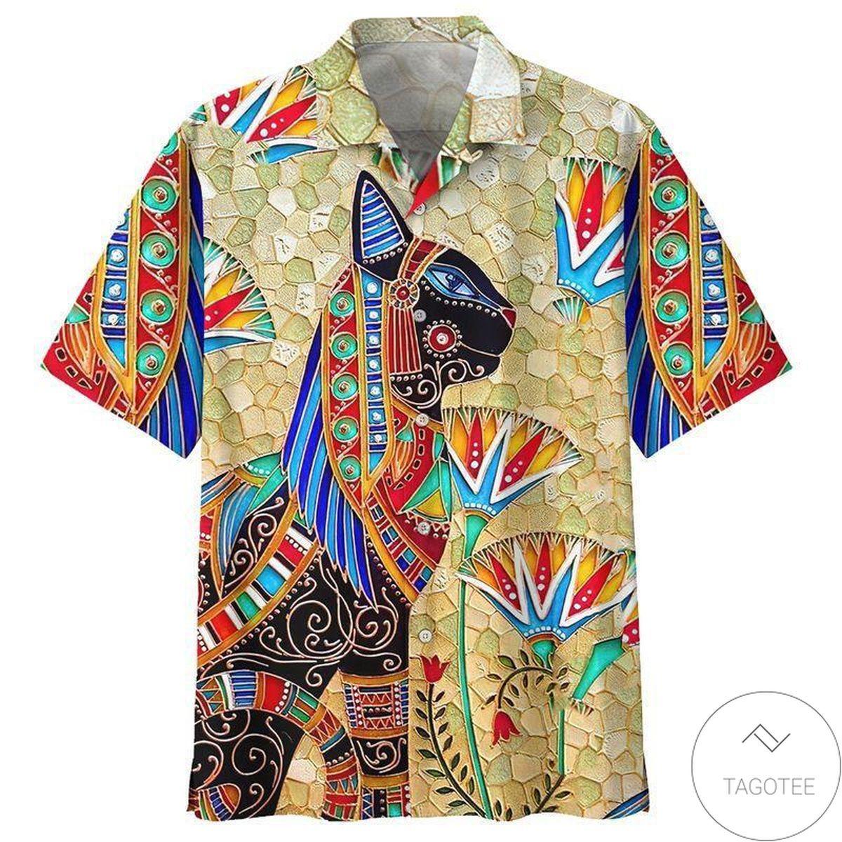 Hippie Egypt Cat Hawaiian Shirt