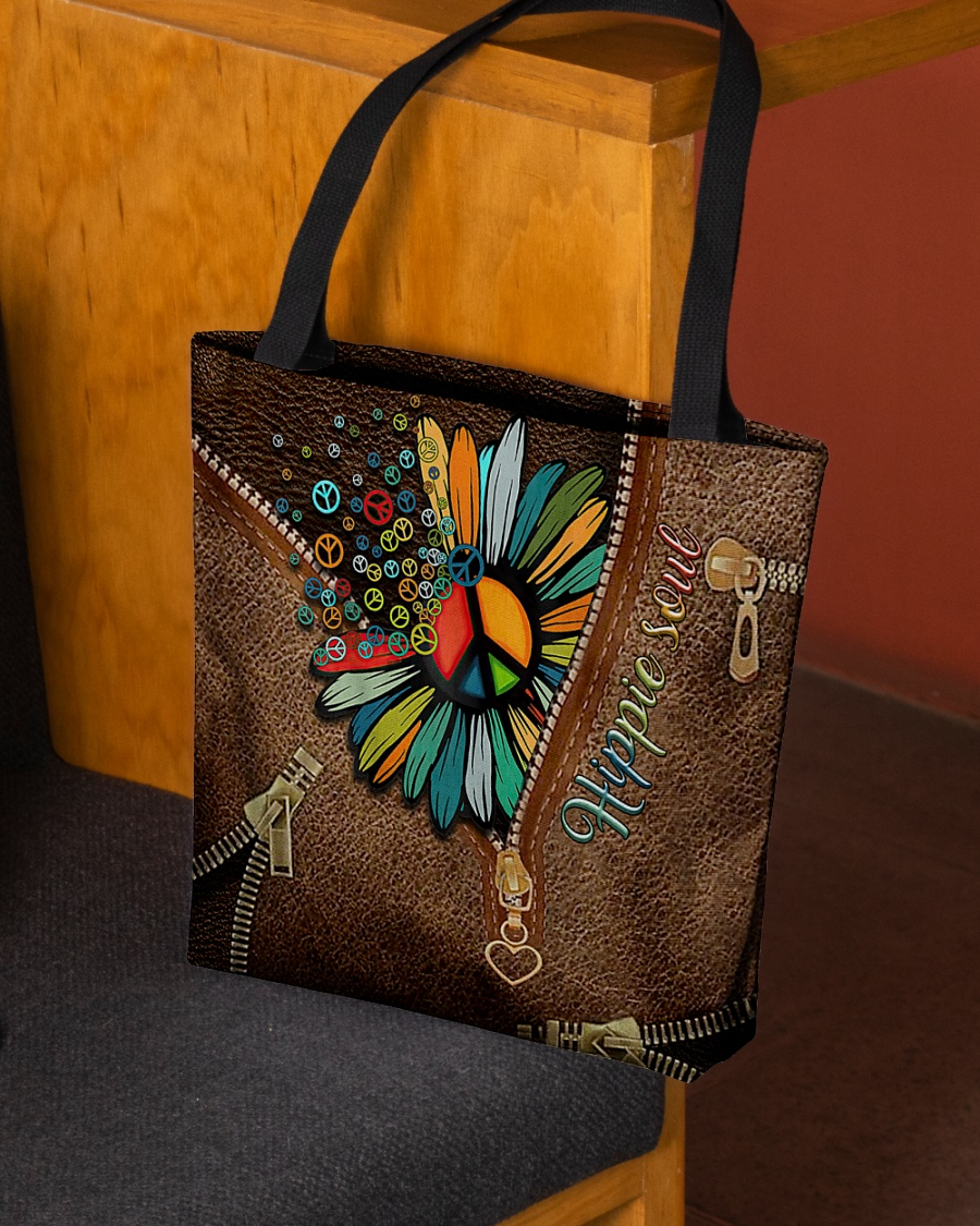 Hippie soul Sunflower as Leather Zipper tote bag 1