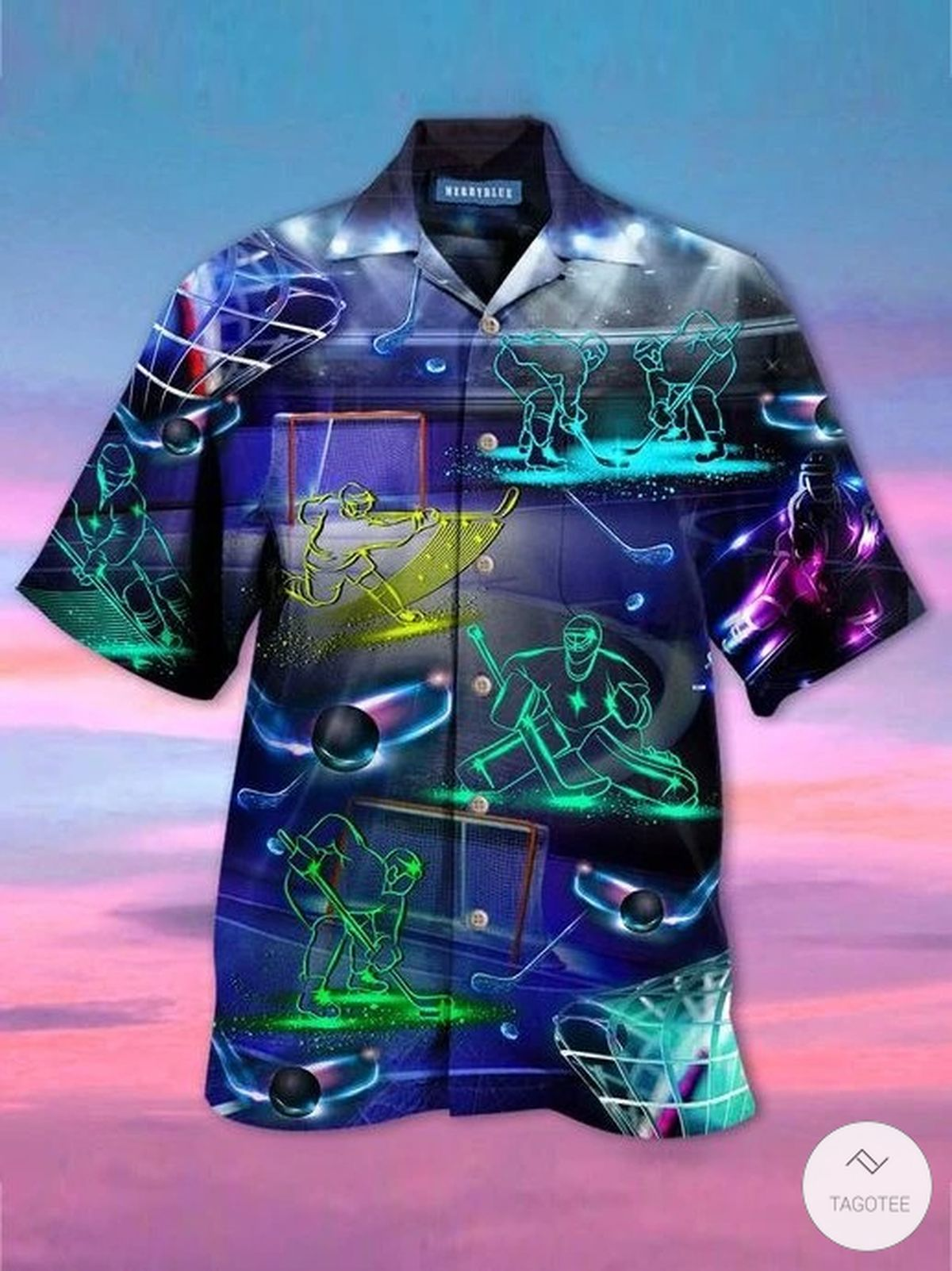 Hockey Neon Hawaiian Shirt