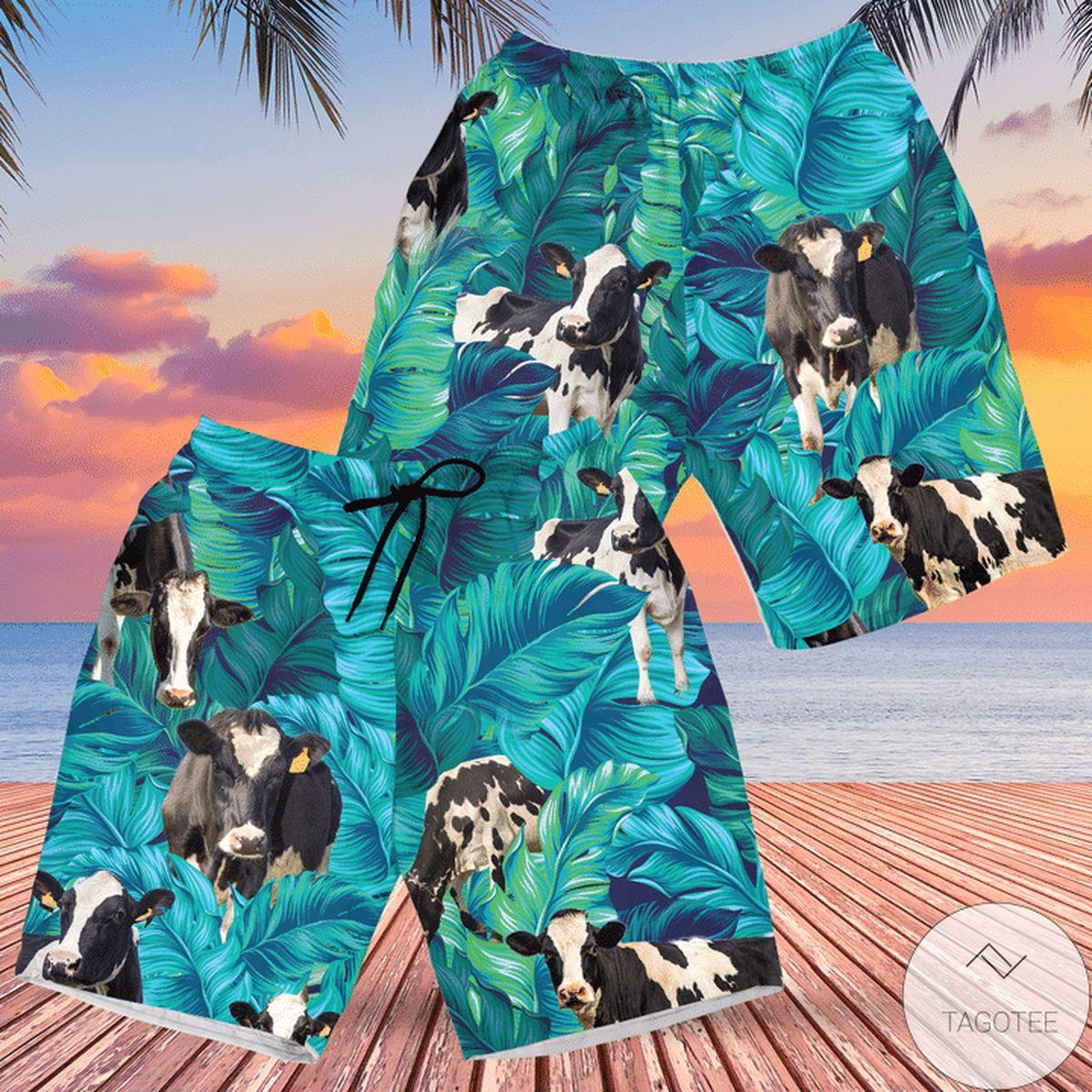 Holstein Friesian Cattle Lovers Hawaiian Swim Trunks Beach Shorts