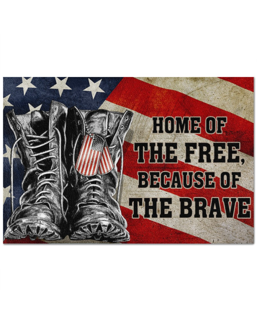 Home Of The Freee Beause Of The Brave Doormat