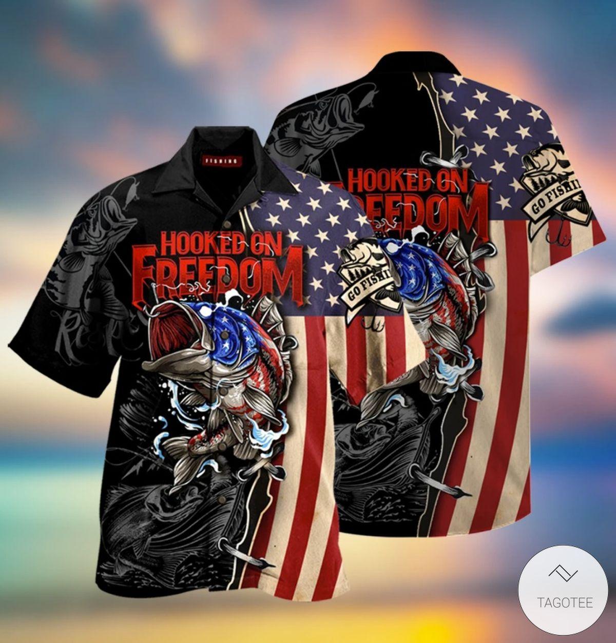 Hooked On Freedom Fishing Hawaiian Shirt