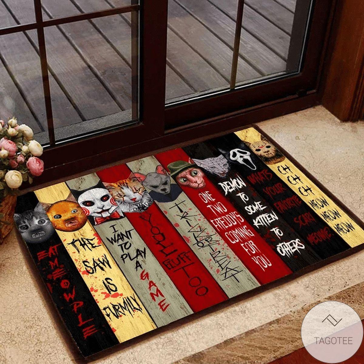 Horror Cats Halloween Doormat