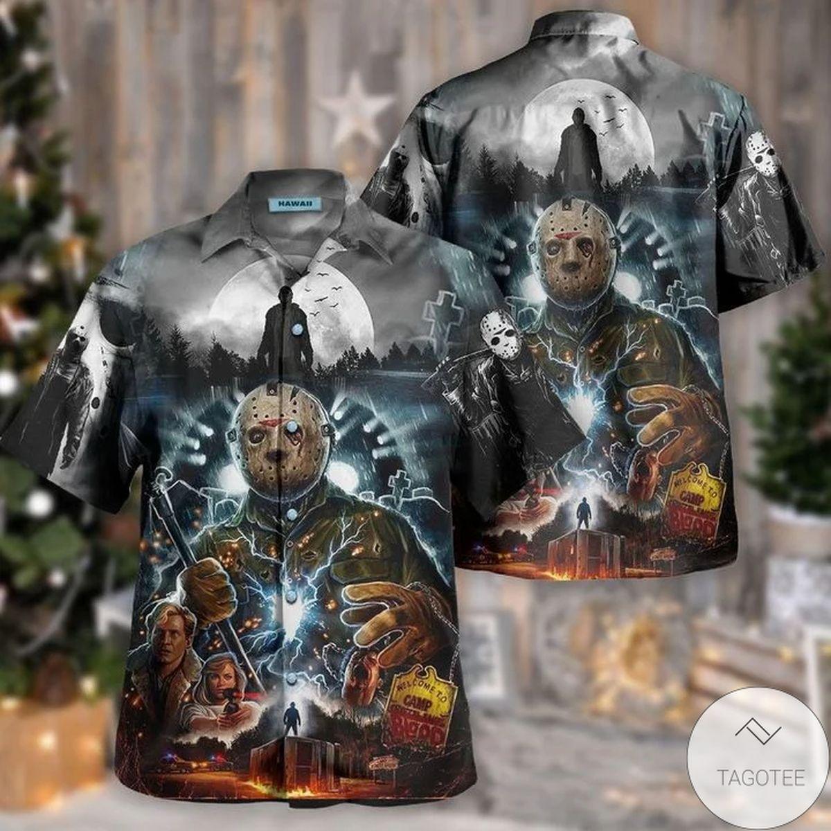 Sale Off Horror Movie Characters Jason Voorhees Killer Hawaiian Shirt
