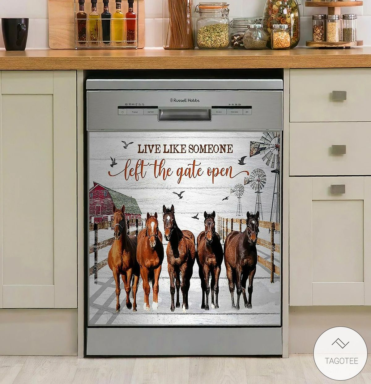 Horse Live Like Someone Left The Gate Open 3D Dishwasher Cover