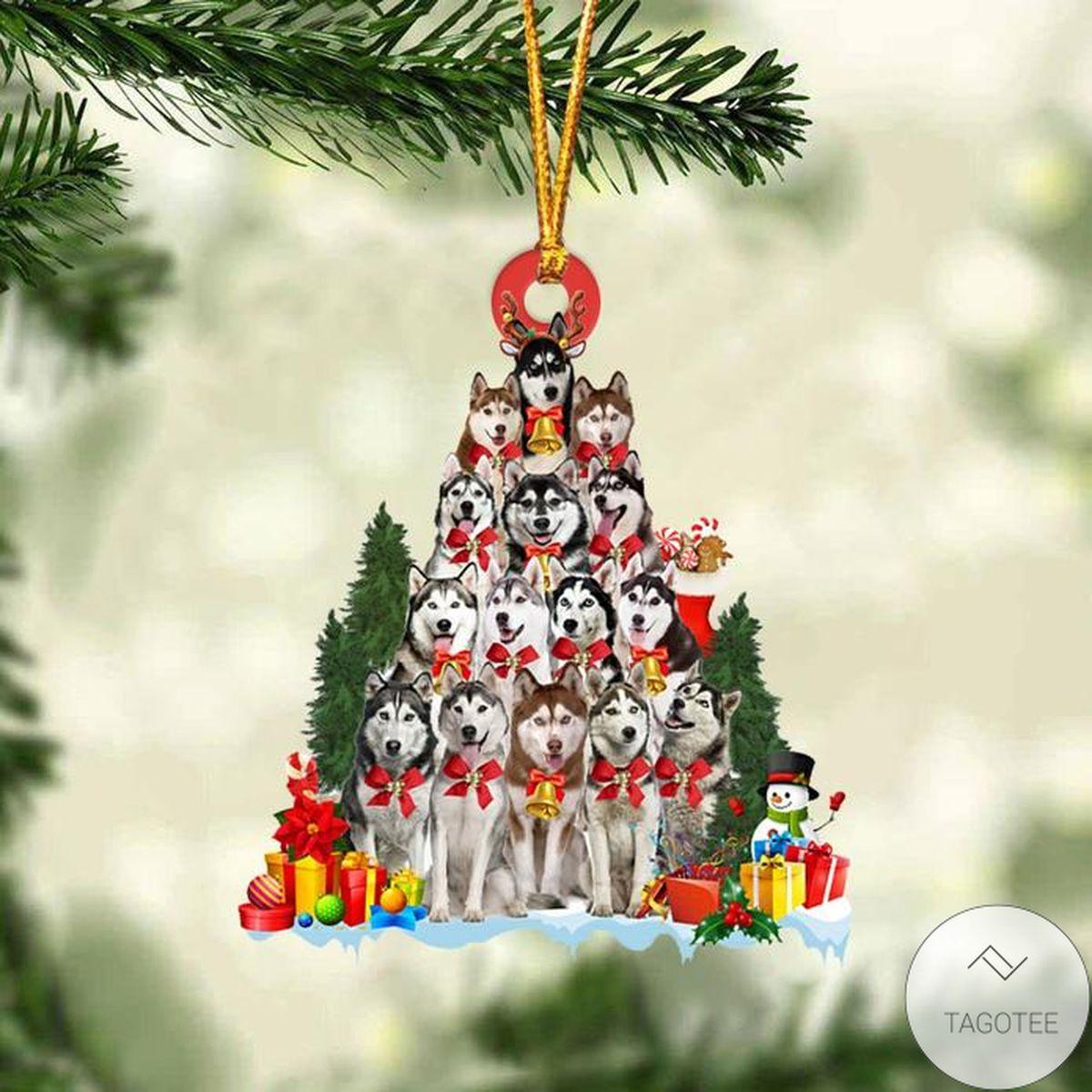 Husky Dog Christmas Tree Ornament