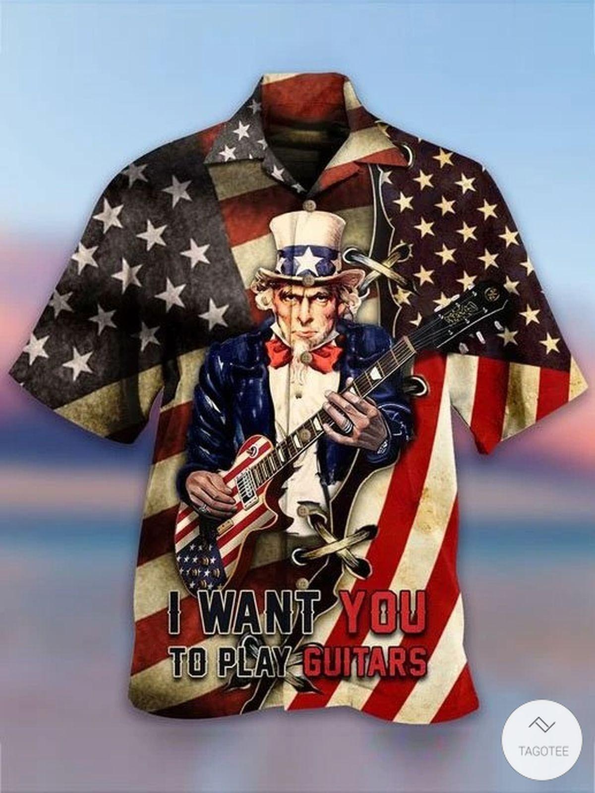 I Want You To Play Guitar Flag Hawaiian Shirt