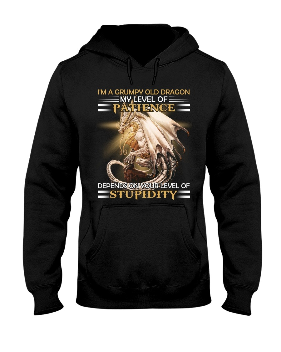 I'm a grumpy old dragon My level of patience depends on your level of stupidity Dragon hoodie
