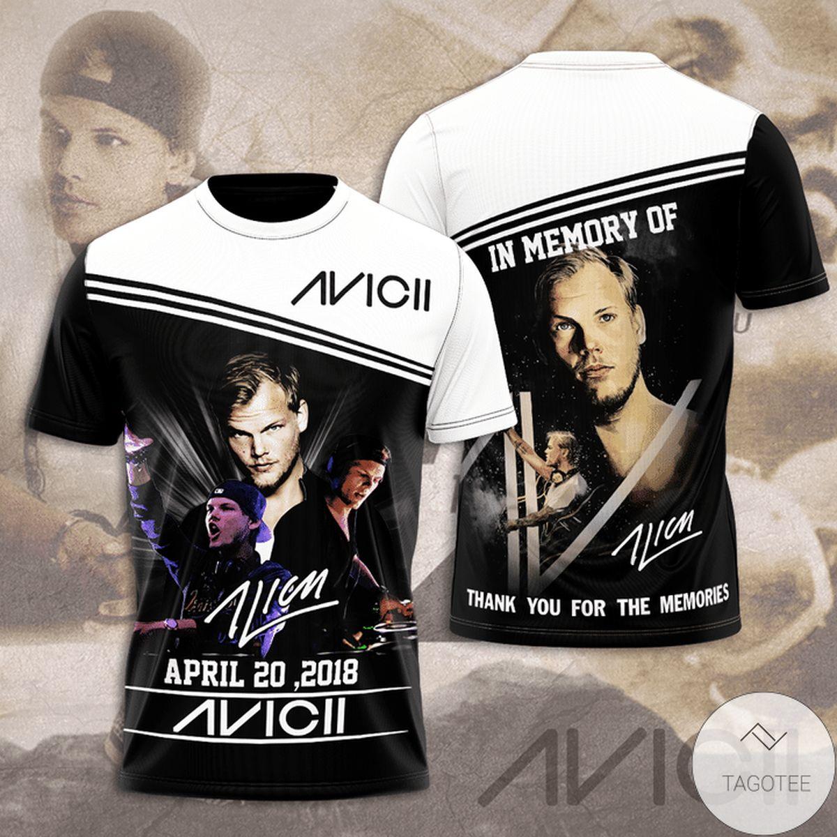 In Memory Of April 20 2018 Avicii Thank You For The Memories 3d Shirt
