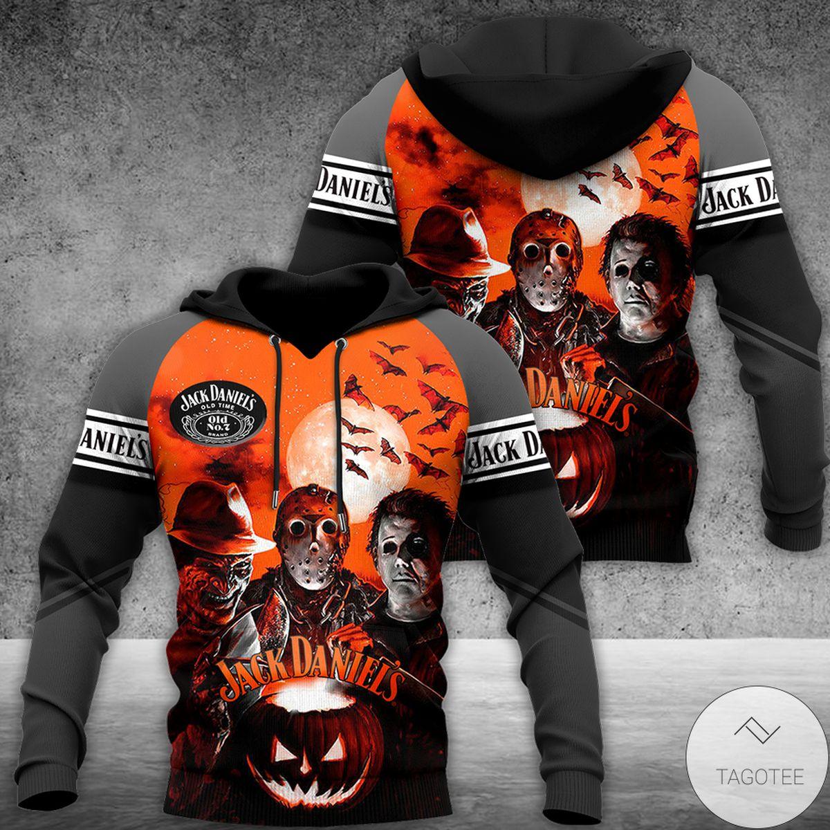 All Over Print Jack Daniels And Horror Movie Killer Characters Halloween 3d Hoodie