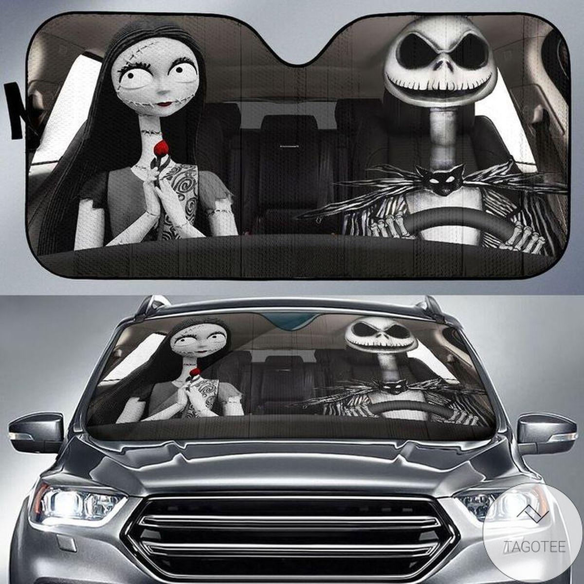Jack Skellington And Sally Car Auto Sun Shade
