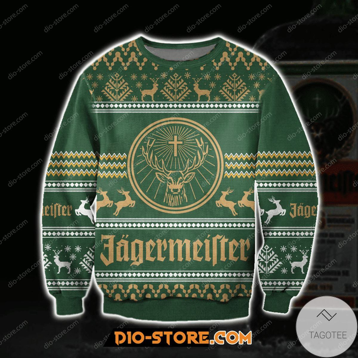 3D Jagermeister Ugly Christmas Sweater