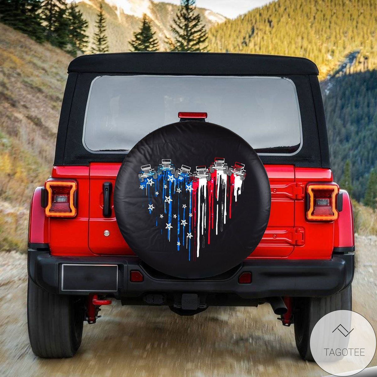 Perfect Jeep Heart Us Flag Spare Tire Cover