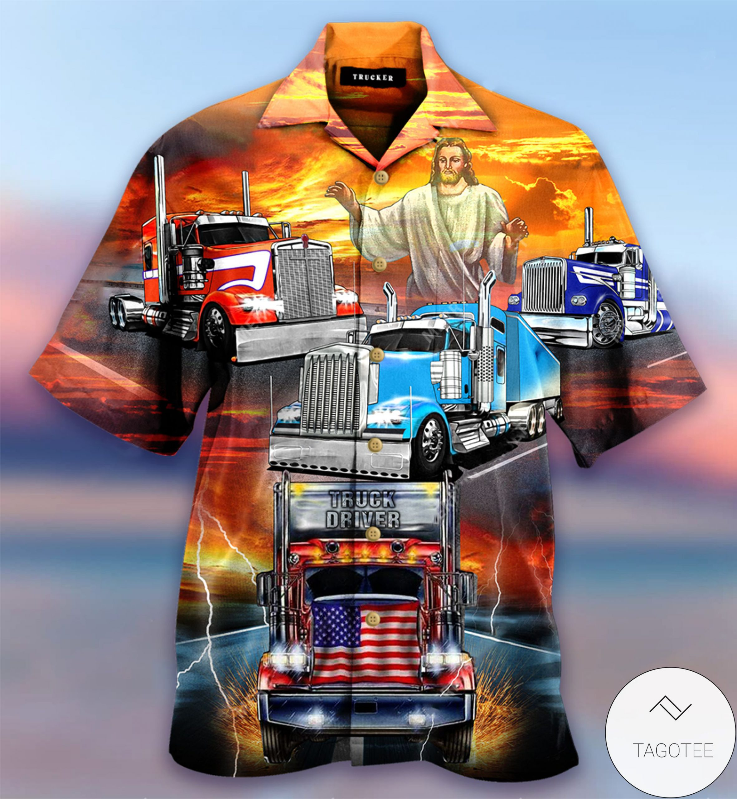 Jesus Blesses Truckers Short Sleeve Hawaiian Shirt 2